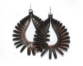 Laser Cut Earrings - Large Nautilus - BLACK