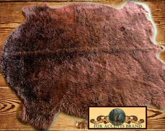 Faux Fur Buffalo Pelt Rug / Golden Brown Plains Buffalo /  Sheepskin Rug / Bear Skin Rug / New Sizes and Colors