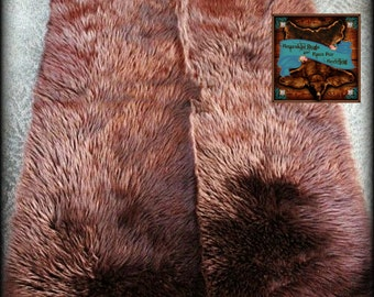 Faux Fur Bear Skin Accent Rug / Brown Shag Throw Rug / Rectangle Fake Sheepskin Rug / New Sizes