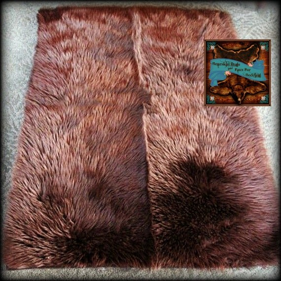 faux fur bear skin accent rug brown shag throw rug. Black Bedroom Furniture Sets. Home Design Ideas