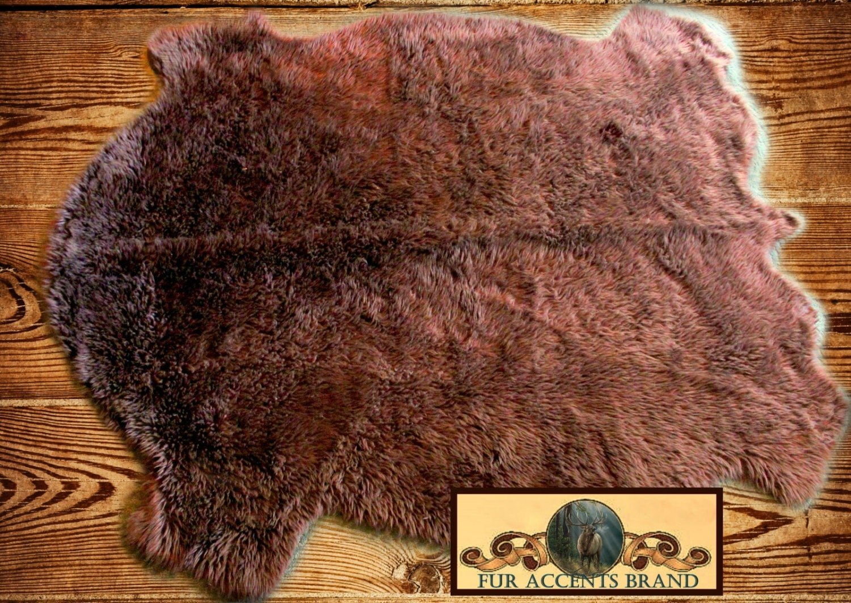 Faux Fur Buffalo Pelt Rug / Golden Brown Plains Buffalo