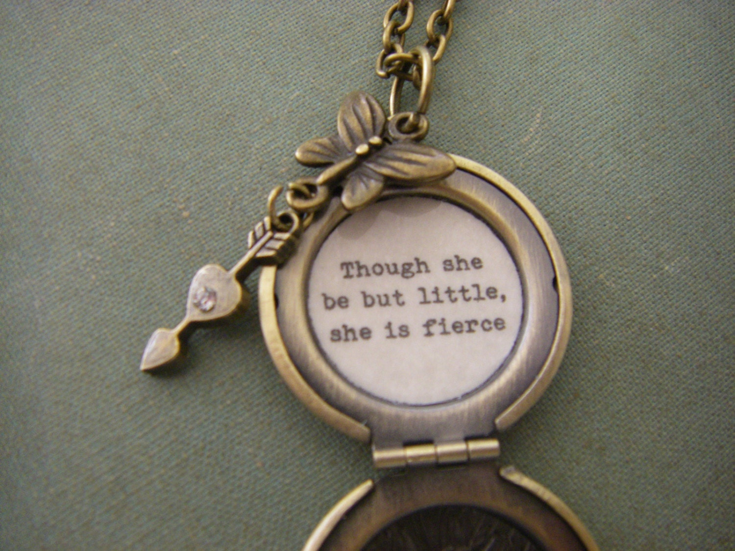 Shakespeare Quotes She May Be Small: Though She Be But Little She Is Fierce Necklace Shakespeare