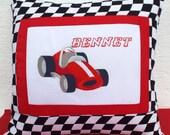 Race Car  - Name Pillow Cover Personalized Custom Boy Room Decor Birthday Gift Keepsake Custom Made