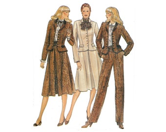 Vintage 1980s Victorian womens suit pattern, straight pants, trousers, fitted jacket, flared skirt, UNCUT Butterick 3980, size 12, bust 34