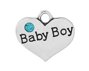 5 Baby Boy Charms - Antique Silver - Sky Blue Rhinestone - 16x14mm - 5pcs - Ships IMMEDIATELY from California - SC1118