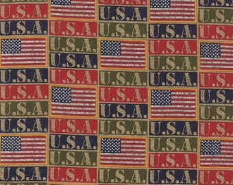 SALE - Moda Classic - Because of the Brave - USA Flags Multi