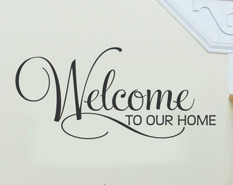 Welcome Wall Decal Welcome to Our Home Living Room Wall Decal Family Room Wall Sticker Vinyl Lettering Wall Decor Removable Decoration