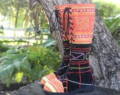 Womens Boho Boots In Colorful Vintage Ethnic Hmong Embroidery On Black Velvet Lace Up - Anja