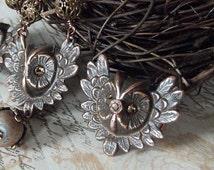 Owl Ring in Dark Chocolate Patina Brass with Rhinestone Eyes