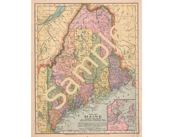 Old Maine Map, Maine County Map, Instant Download 1900s Maine Color Map, Printable Map, Cartography