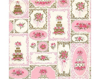 Vintage Wedding Gift Wrapping Paper, Pink Roses, Gold Gift Wrap Paper 1960s Wedding Wrap, White Wedding Cakes, Uncut Unused Full Sheet 19x29