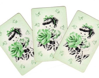 Little Girl Playing Cards, Lot of 3, Vintage Kitsch Green Rose Floral, Smash Book Supply Junk Journal Scraps 1950s Swap Cards for Scrapbook