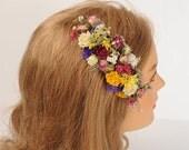Rustic Country Bridal Headpiece, Dried Flower Comb, Natural Flower Hair piece, Australian Wildflower Headpiece, Wedding Hair Accessory,