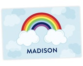 Rainbow Placemat - Kids Personalized Placemat - Childrens Placemat - Set The Table - Activity Placemat - Laminated Place Mat