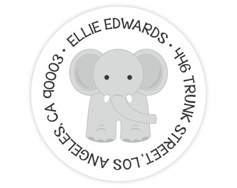 Elephant Address Labels - Personalized Address Labels for Kids - Round Return Address Labels - Elephant Stickers - Kids Mailing Labels