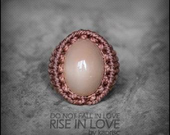 Big Indian Moonstone Ring Macrame