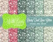 SALE Glitter Digital Scrapbook Paper Pack - Glitter Scrapbook Paper Set - Pink Glitter - Teal Glitter - Instant Download