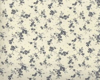 Floral Fabric, Quilters Calicos, Blue Floral Fabric, Blue Fabric, Navy Blue Floral Fabric, 10018