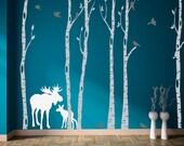 Birch Tree Decals Set of Six with Moose Birds, REUSABLE Fabric Ecofriendly NO PVCs Decals