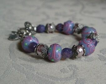 Purple Glass Lampwork Butterfly Charm Bracelet