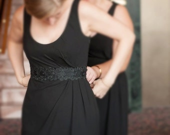 Black  Beaded Flower Lace Sash with Black Satin Ribbon // Bridal Wide Sash, Bridesmaid Sash // SH-08
