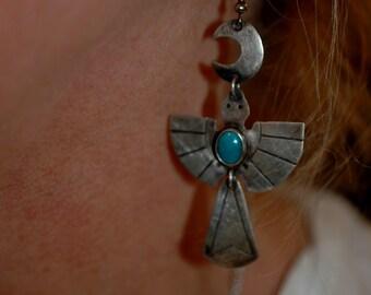 "Beautiful Rare Large Hand Wrought Navajo Thunderbird Peyote Bird Turquoise Earrings 3"" Long"