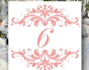 Ornate Square Wedding Table Numbers, Created in Your Custom Color, Event Table Numbers, Bridal Shower Table Numbers, Wedding Place Cards