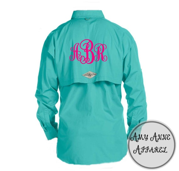 Monogram ladies oversized fishing shirt by amyanneapparel for Embroidered fishing shirts