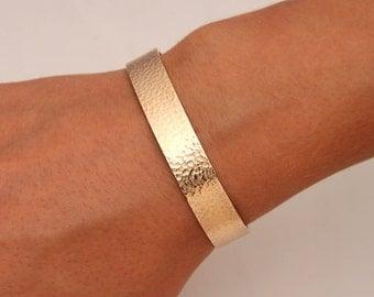 Wide Hammered Cuff Bracelet, 14K Gold Filled