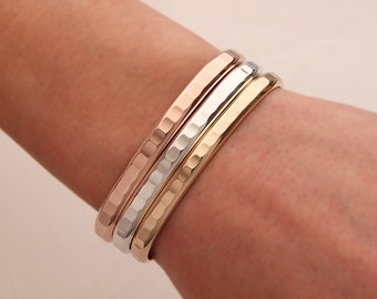 Thick Hammered Cuff Bracelets, Gold, Rose Gold, Silver