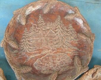 SALE Vintage Orna Wood  3 Piece Dish Set
