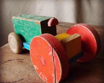 SALE Antique Wooden Toy Tractor