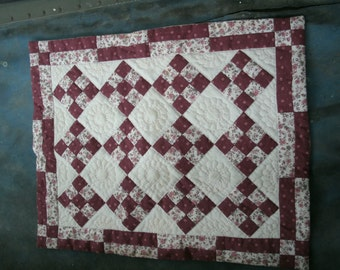 Vintage Hand Quilted Doll Quilt Or Wall Decor