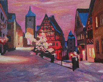 Romantic Rothenburg Tauber Germany Winter Dream Land - Fine Art Print Giclee - Original Available