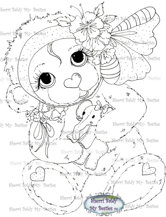 INSTANT DOWNLOAD Digital Digi Stamps Big Eye Big Head Dolls Bestie New Hug-able Bestie Bears I Luv You  img539 My Besties By Sherri Baldy