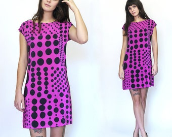 SALE / hand painted silk Mini Dress.  Patchwork Dots on Rasberry // readymade