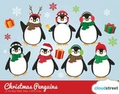 buy 2 get 1 free cute christmas penguins clipart / christmas penguin clip art / winter holiday festive illustration / commercial use ok