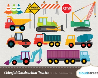 20% OFF Colorful Construction Trucks clip art for personal and commercial use ( under construction clipart vector graphics )