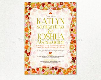 Vintage Watercolor Orange and Olive Ditsy Floral UNIQUE WEDDING INVITATION, with Window Frame