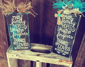 Family Quote Block Home /Office Decor
