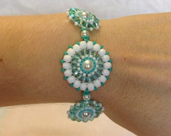 Sea Green and White Woven Bracelet