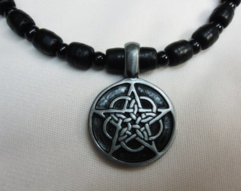 Beautiful Celtic Star Pendant on Bold Black Beaded 16 and a half Inch Necklace with and a Sturdy Magnetic Clasp