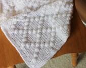 White Polka Dot Baby Blanket - Textured Infant Throw - Snow White Diamond Afghan - Handmade Crochet