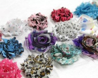 Petite Print Shabby Flower Rosettes, 1.5-2 inches, Headband, Hair Hair Clip, Shabby Chic Flowers,  Set of 25, You Pick Prints