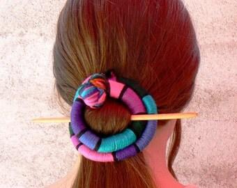 Funky Hair stick,  Shawl pin brooch, Flexible bun wrap, Large Barrette Purple Pink Turquoise Fascinator, Bun hair style, Cheap hair stuff