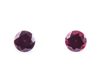 1.61 Ct Natural Red Garnet Gemstone Diamond Faceted Round Size 7 mm