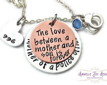 Mother of A Police Officer Firefighter Cop The Love Between A Mother And Son Is Forever Necklace - Personalized Jewelry - Engraved Jewelry