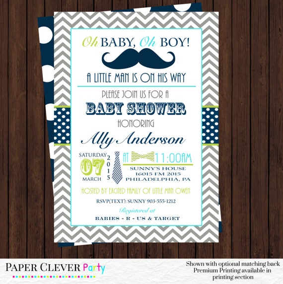 mustache baby shower invitations bow tie little gentleman party navy