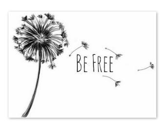 Art Print - baby - nursery - playroom - Dandelion - Be Free - Download - 5x7 - black - Wall Decor