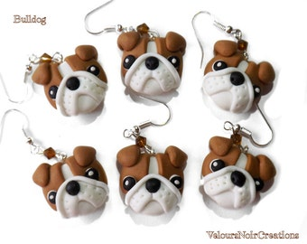 english bulldog earrings handmade in polymer clay